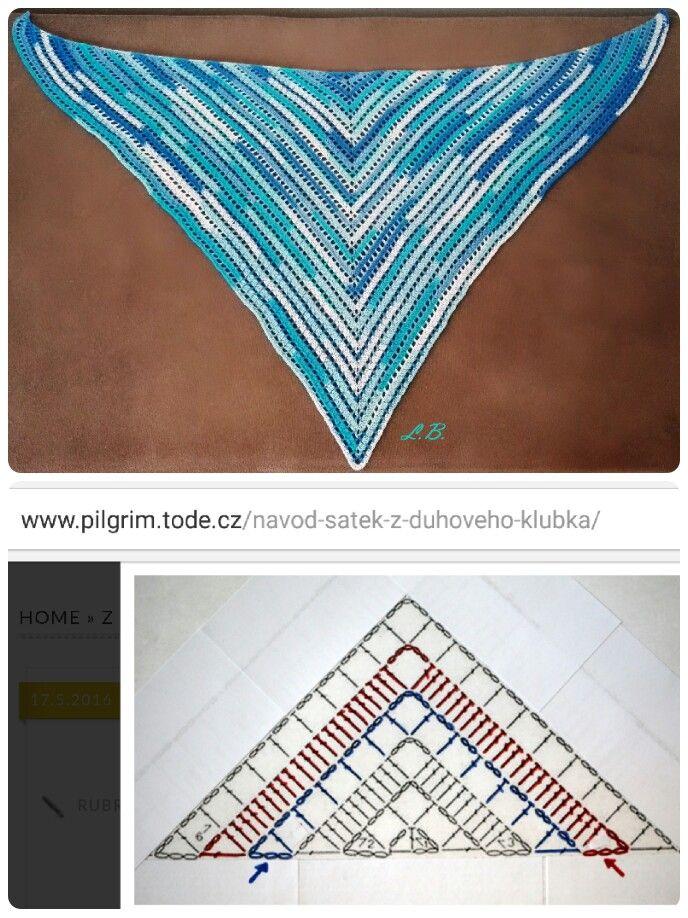 Jednoduchý háčkovaný šátek - easy crochet shawl | бактус идеи ...