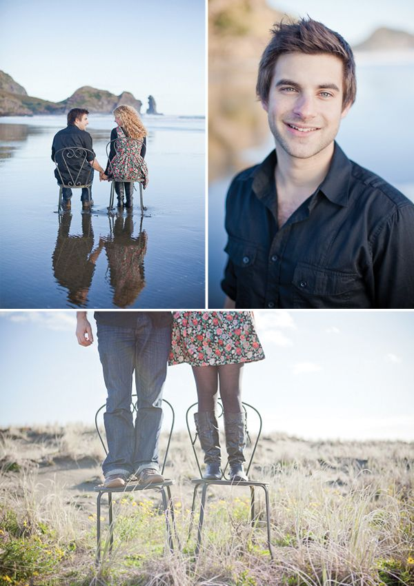 beach engagement shoot @Mallory Muckleroy I liked the chairs because they are a great way to pose you guys near enough to the sand and get a good reflection... what do you think?