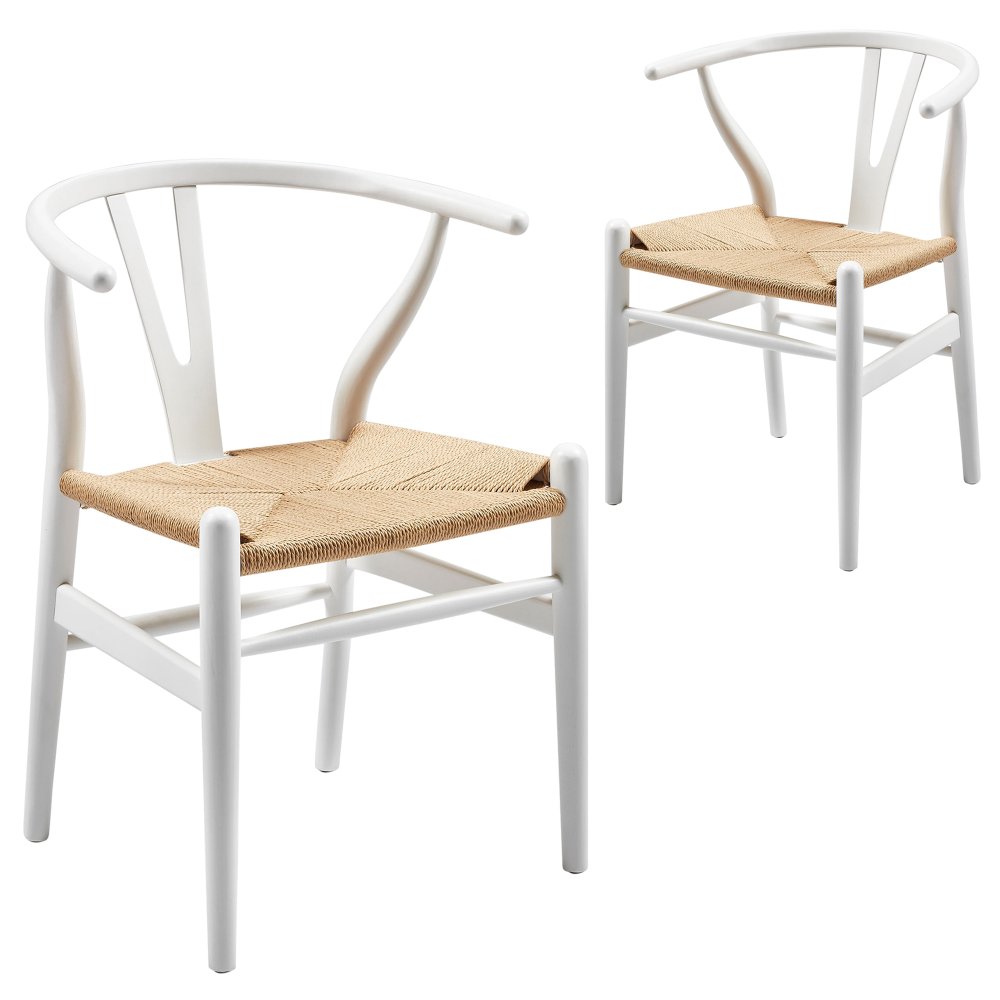 White & Natural Replica Hans Wegner Wishbone Chairs (Set