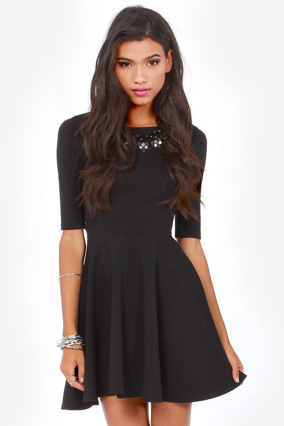 Just a Twirl Black Dress | Dresses for work, Flare and Dresses ...