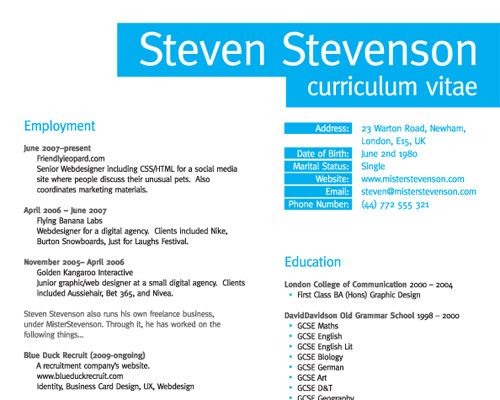 How To Create A Great Web Design Cv And Rsum Resume Cv
