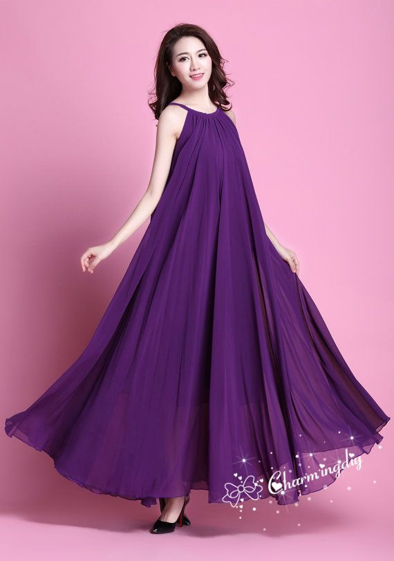 110 Colors Chiffon Dark Purple Long Party Dress Evening Wedding