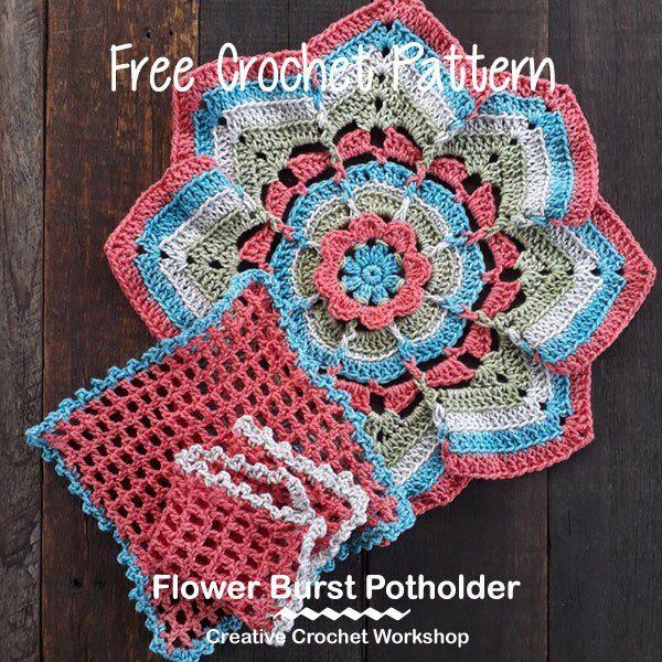 Flower Burst Potholder | crochet | Pinterest