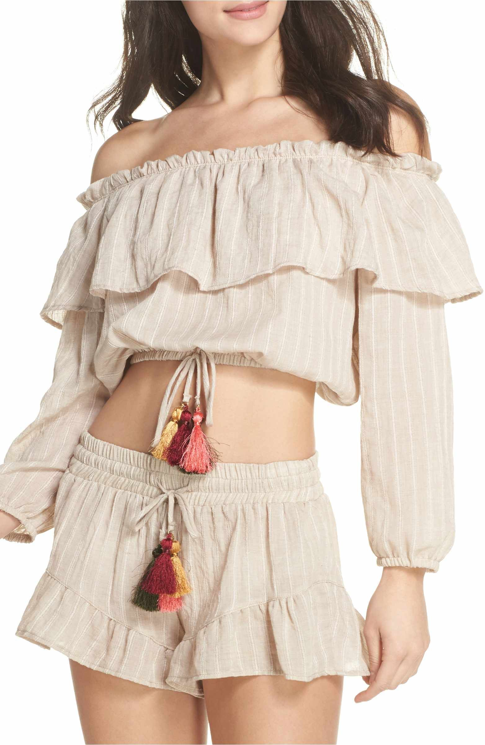 5aee92b15e2 Main Image - Surf Gypsy Ruffle Cover-Up Top Daily Look, Off Shoulder Blouse