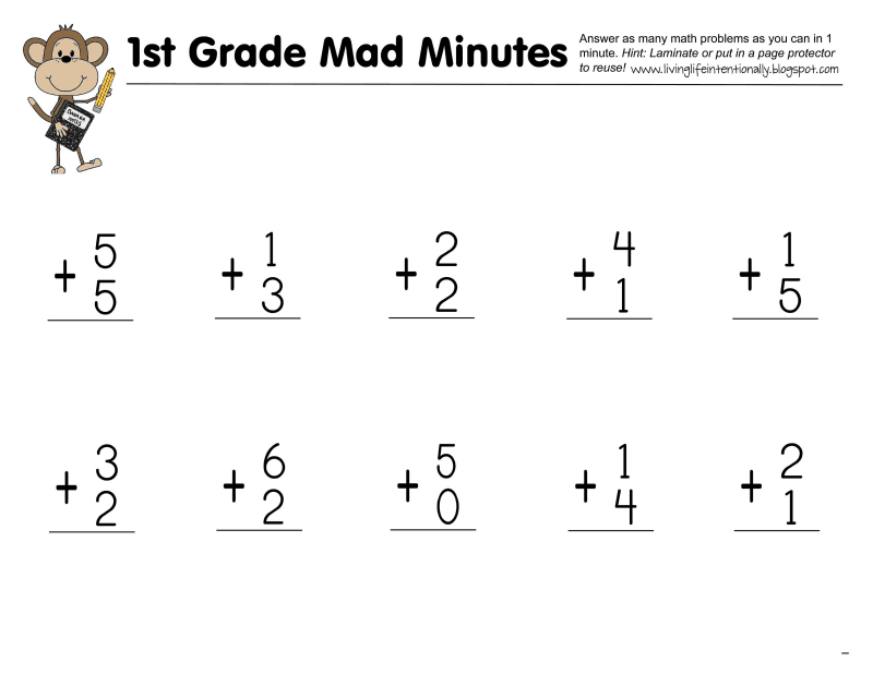 Mad Minute 1st grade.PDF 1st grade math, First grade