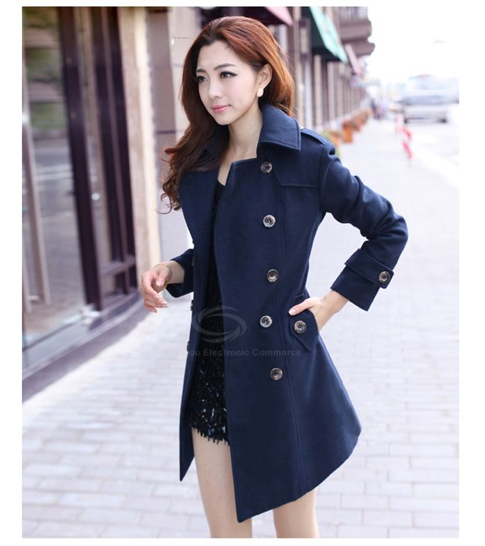 Elegant Style Lapel Double Breasted Solid Color Long Sleeve Thicken Worsted Coat For Women (NAVY,M) China Wholesale - Sammydress.com $20.18