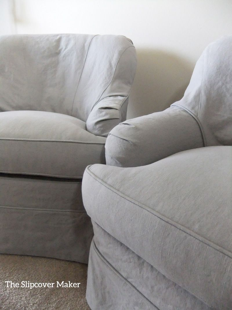Slipcovers in a grey linen blend from big duck fabric makes old chairs look new again