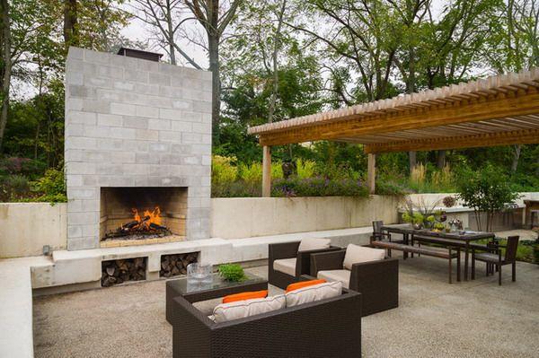 Concrete Block Outdoor Fireplace Prepossessing Of Home Design Ideas