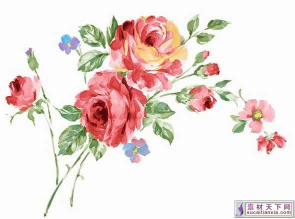 Painted flowers fantasy hand painted flowers psd for Watercolor painting templates free