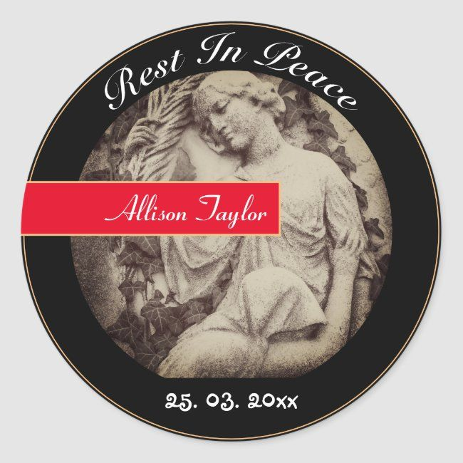 Mourning With Angel Memorial Funeral Vintage Classic Round Sticker Zazzle Com In 2020 Round Stickers Memorial Poems Create Custom Stickers