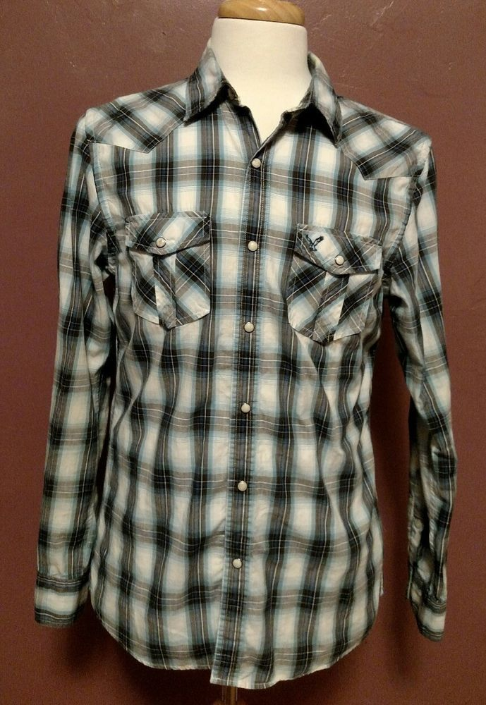 6556499177 American Eagle Outfitters Vintage Fit Western Pearl Snap Checkered Shirt  Size M  AmericanEagleOutfitters  Western