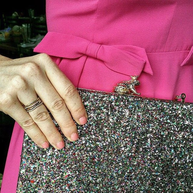 Anyone else kiss a few frogs this #wedding season? // My Sweet Side Dress by @jilljillstuart & I Kissed A Frog Clutch by @KateSpadeNY available on #renttherunway #regram @sistersmarie #weddingwednesday