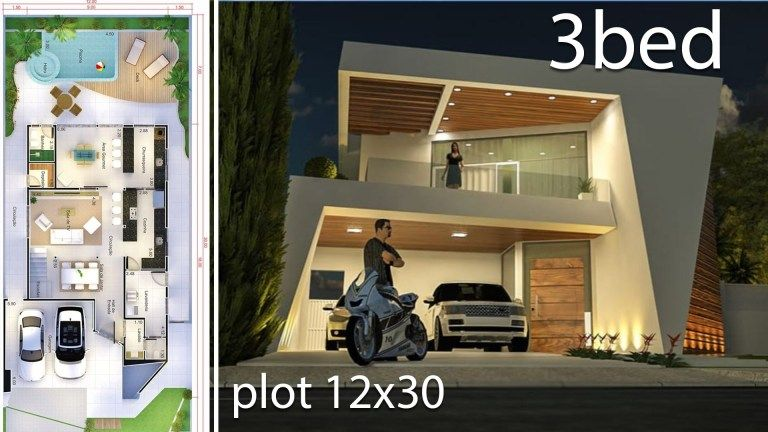 Modern Home Design 12x30 Meters 3 Bedrooms Home Design With Plan Modern House Design House Design Modern House