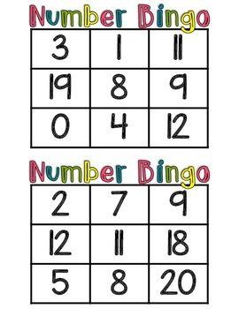 Number Bingo Class Set Of 30 Cards For Numbers 0 20 Bingo Numbers Preschool Numbers For Kids