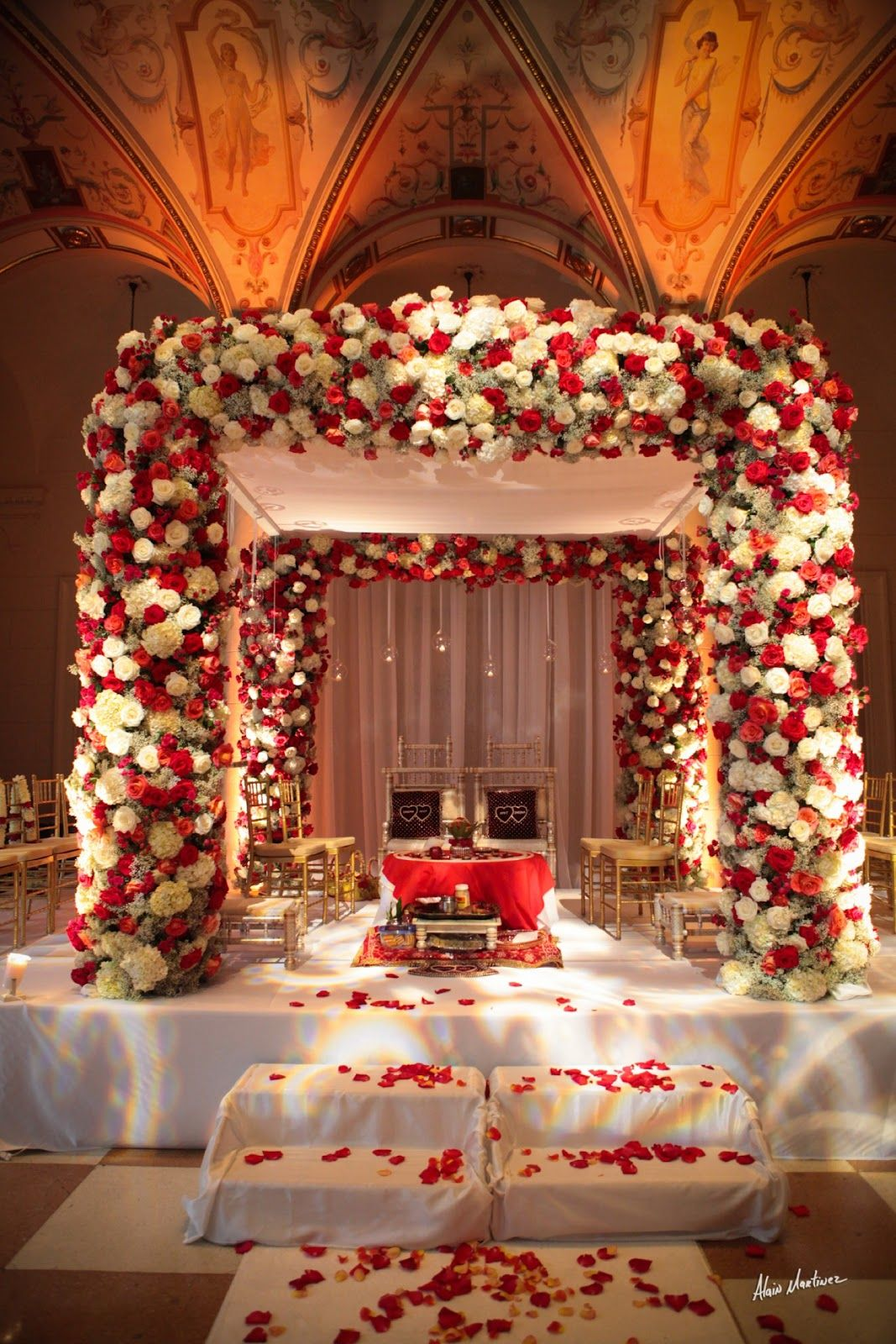 Jennifer j events amazing mandap red white indian for Wedding decoration design
