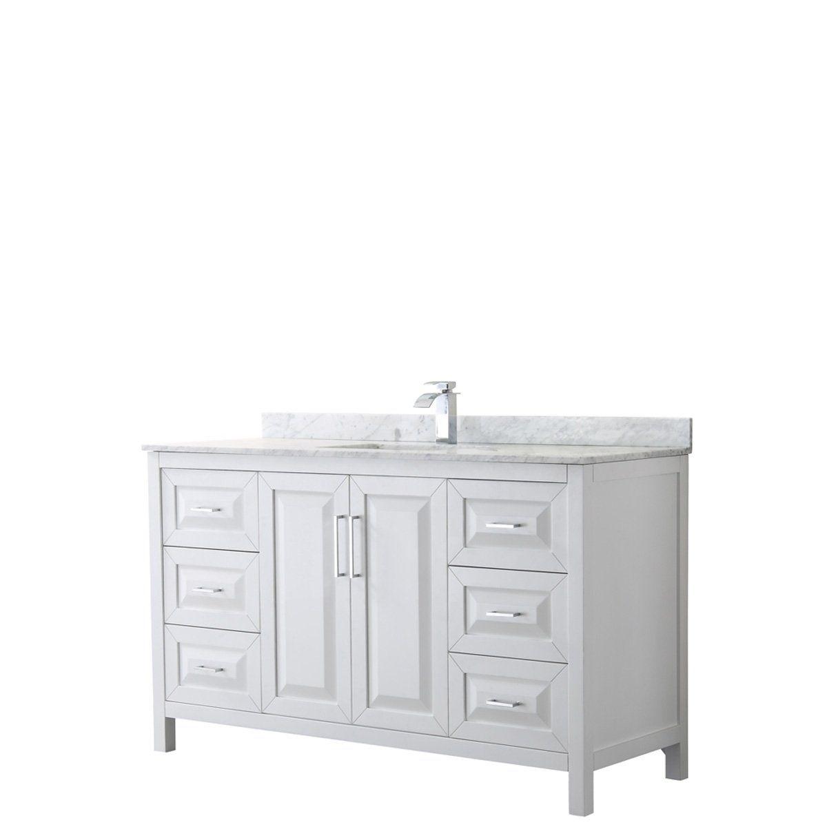 Daria 60 Inch Single Vanity Marble Top No Mirror Single Sink