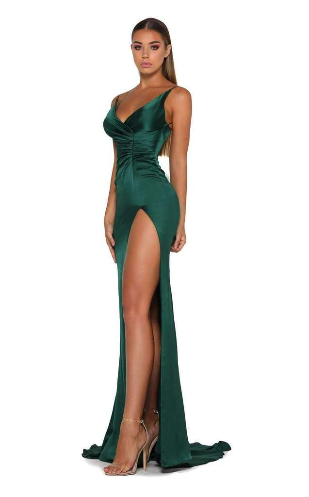 Portia and Scarlett Hugo Gown Dress - Green formal dresses, Glamorous evening dresses, Green prom dress, Green evening gowns, Emerald green prom dress, Perfect prom dress -  Femmefatale sleeveless gown with split by Portia and ScarlettFlaunt your feminine mystique in this femmefatale evening gown by Portia and Scarlett  Spaghetti straps support the deep Vneckline and accent the upper back  Crisscross styling details a curvedefining fit at the bodice, and tucked detail accents the midriff  The liquid skirt flows to a fluted fulllength and rippling puddles around the feet while a sizzling split supplies a sensuous accent