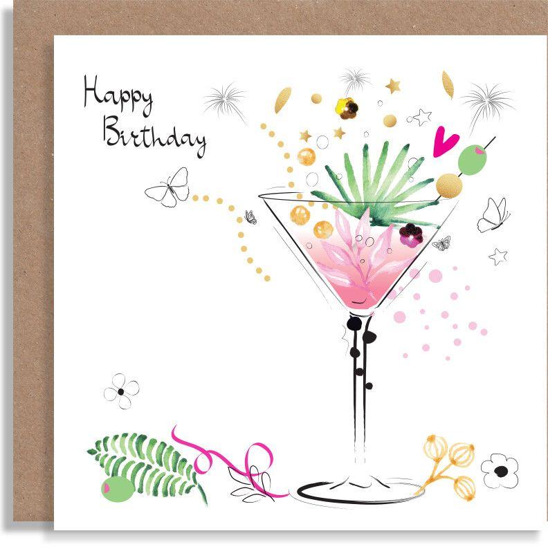 Birthday Quarantini Martini Card Birthday Drinks Card Personalised Handmade Card Card For Friends Cards Handmade Greeting Cards Handmade Birthday Cards