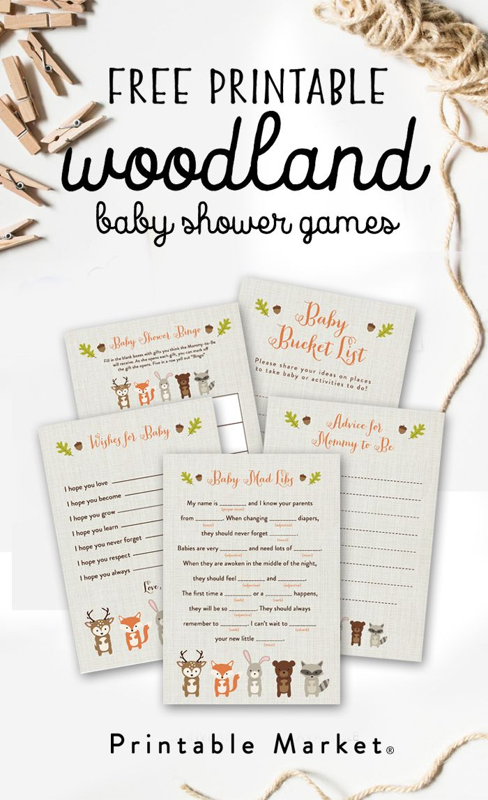 photo relating to Baby Shower Printable named No cost Woodland Fox Kid Shower Game titles Printable Deal