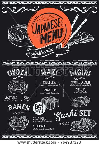 Sushi menu for restaurant and cafe Design template with food hand - menu design template
