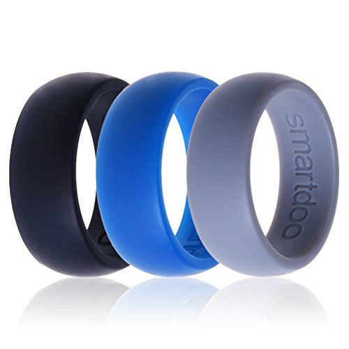 Silicone Wedding Rings Smartdoo 3 Rings Pack Men And Women Blue Grey Black Jewelry For Ladies Silicone Wedding Rings Silicone Wedding Band Plastic Wedding Rings