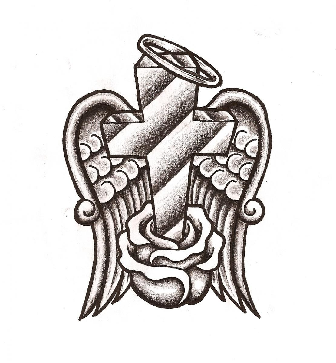 Coloring Pages Of Crosses With Flowers. Rose Flower And angel Winged Cross Tattoo Design  Bills Board
