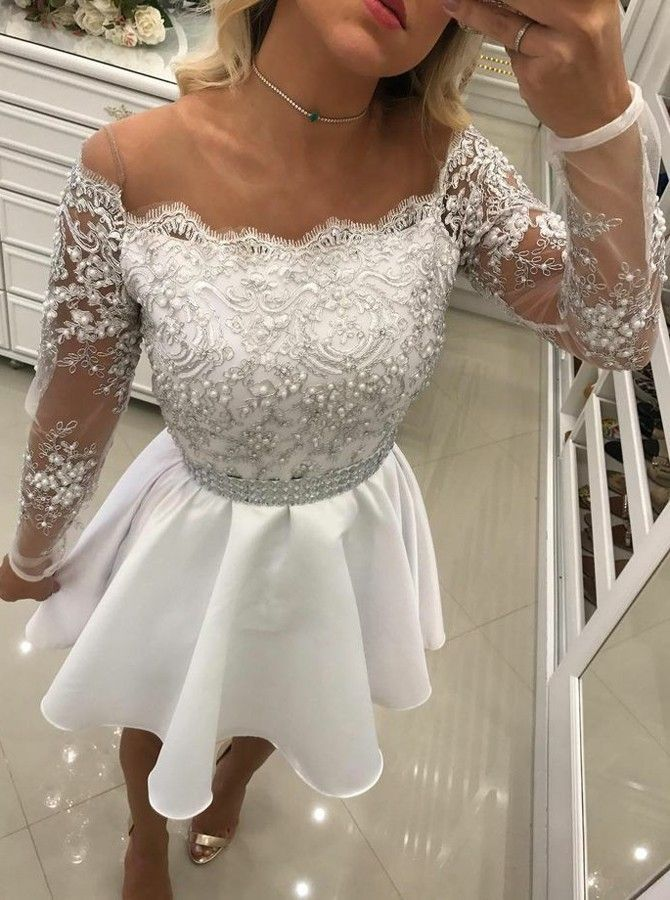 218ac361142 A-Line Off the Shoulder Long Sleeves White Satin Short Homecoming ...