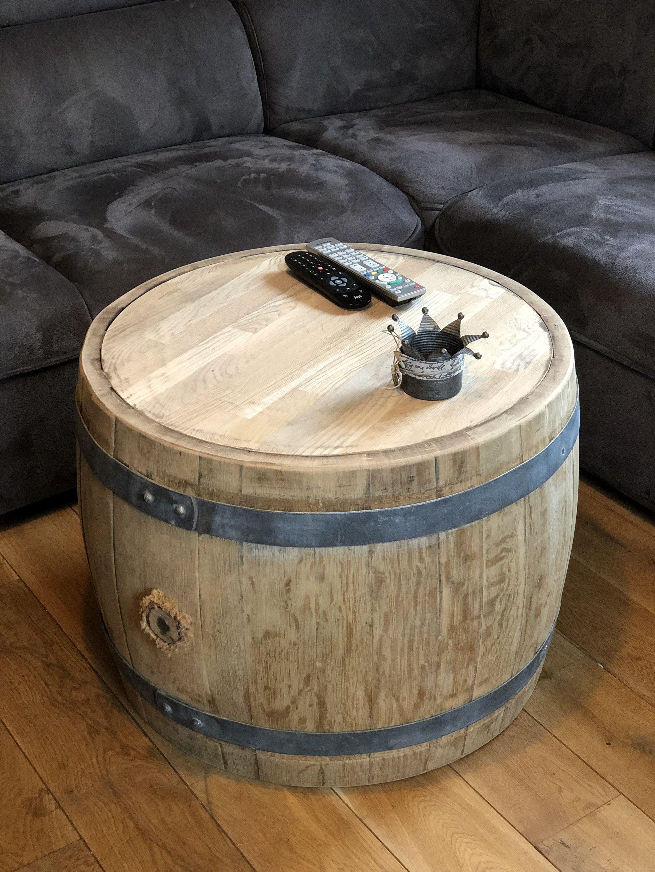 Bauchiger Weinfass Couchtisch Mit Holzplatte Aus Weinfass