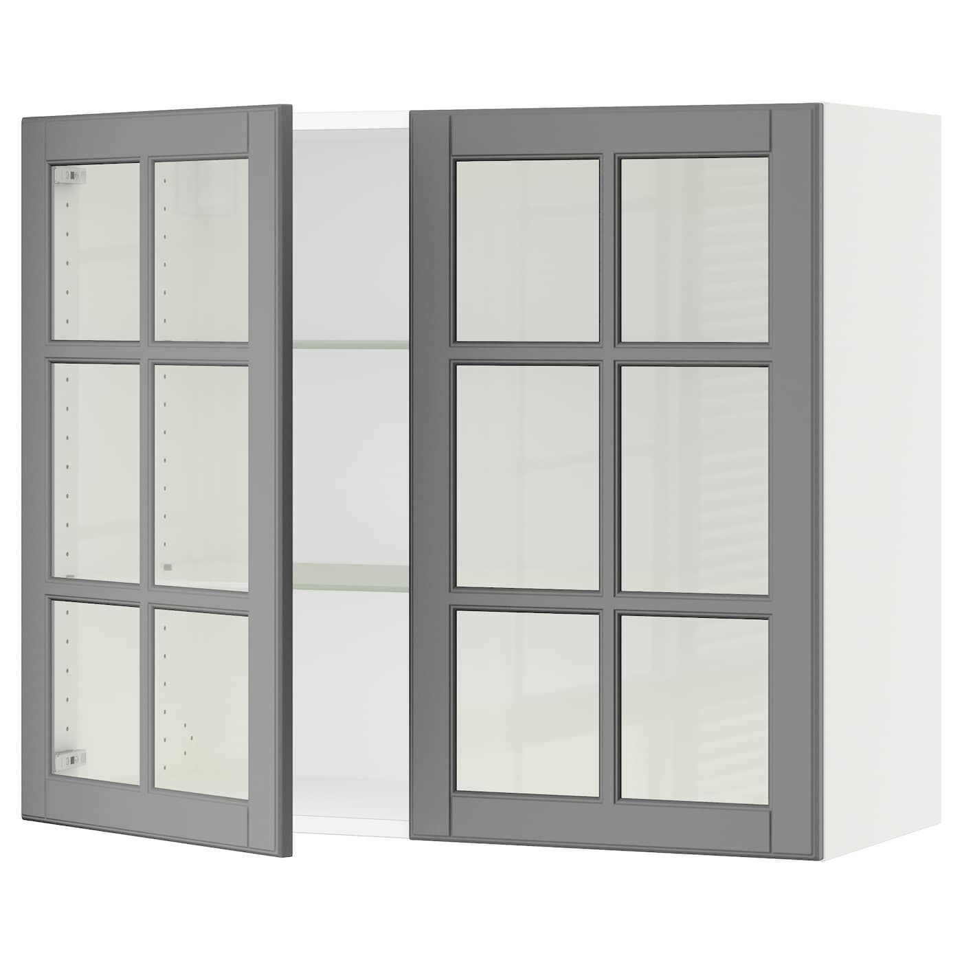 Ikea Sektion White Wall Cabinet With 2 Glass Doors Frame Colour Wall Cabinet Glass Cabinet Doors Glass Door