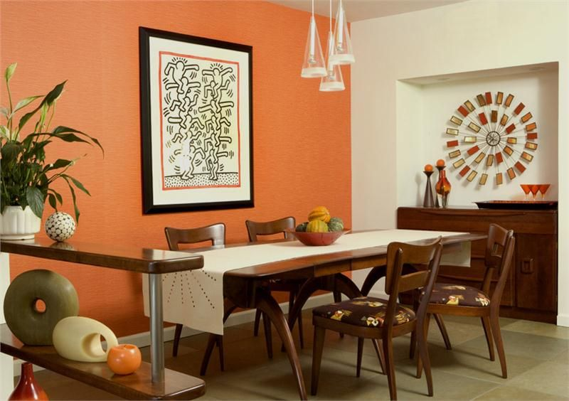 Orange Wall Dining Room  Google Search  Dining Room  Could Use Stunning Orange Dining Room Table Decorating Inspiration