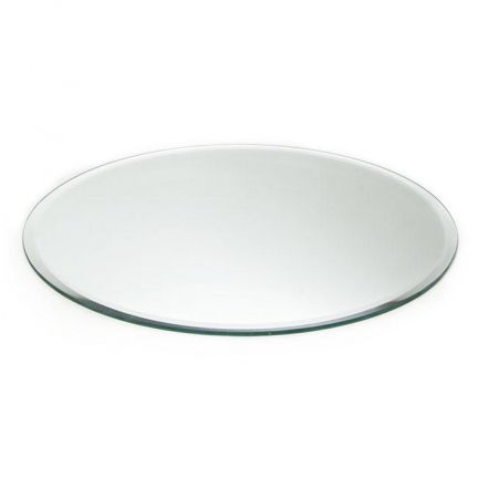 Mirror Plate Candle Display Bevelled Edge Round 40cm 16 Ja