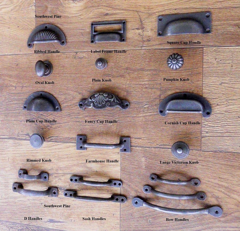 Cast Iron Cup Handle Kitchen Cupboard Door Handle Knob Antique Iron ...