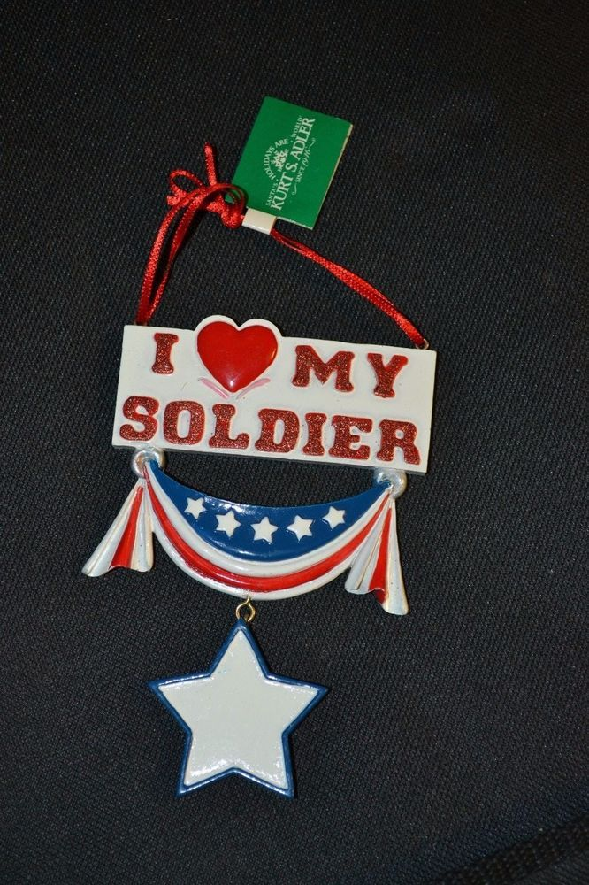 "Christmas Holiday Ornament ""I Love My Soldier"""