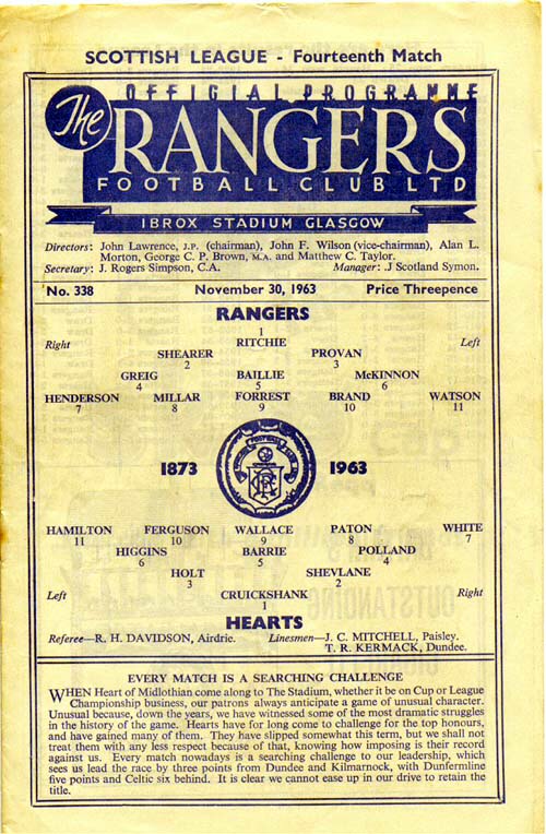 Rangers 0 Hearts 3 In Nov 1963 At Ibrox Programme Cover For The Scottish 1st Division Clash Futbol