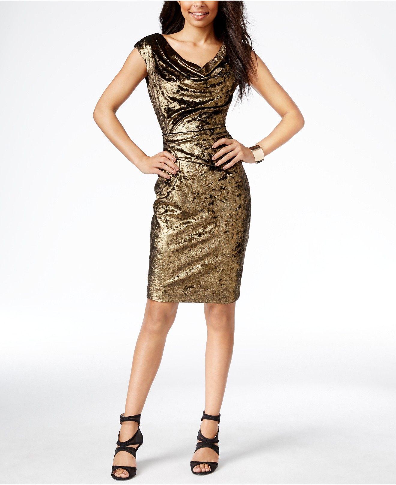 Vince Camuto Velvet Metallic Sheath Dress What S New Women Macy S Clothes Design Velvet Cocktail Dress Dresses [ 1616 x 1320 Pixel ]