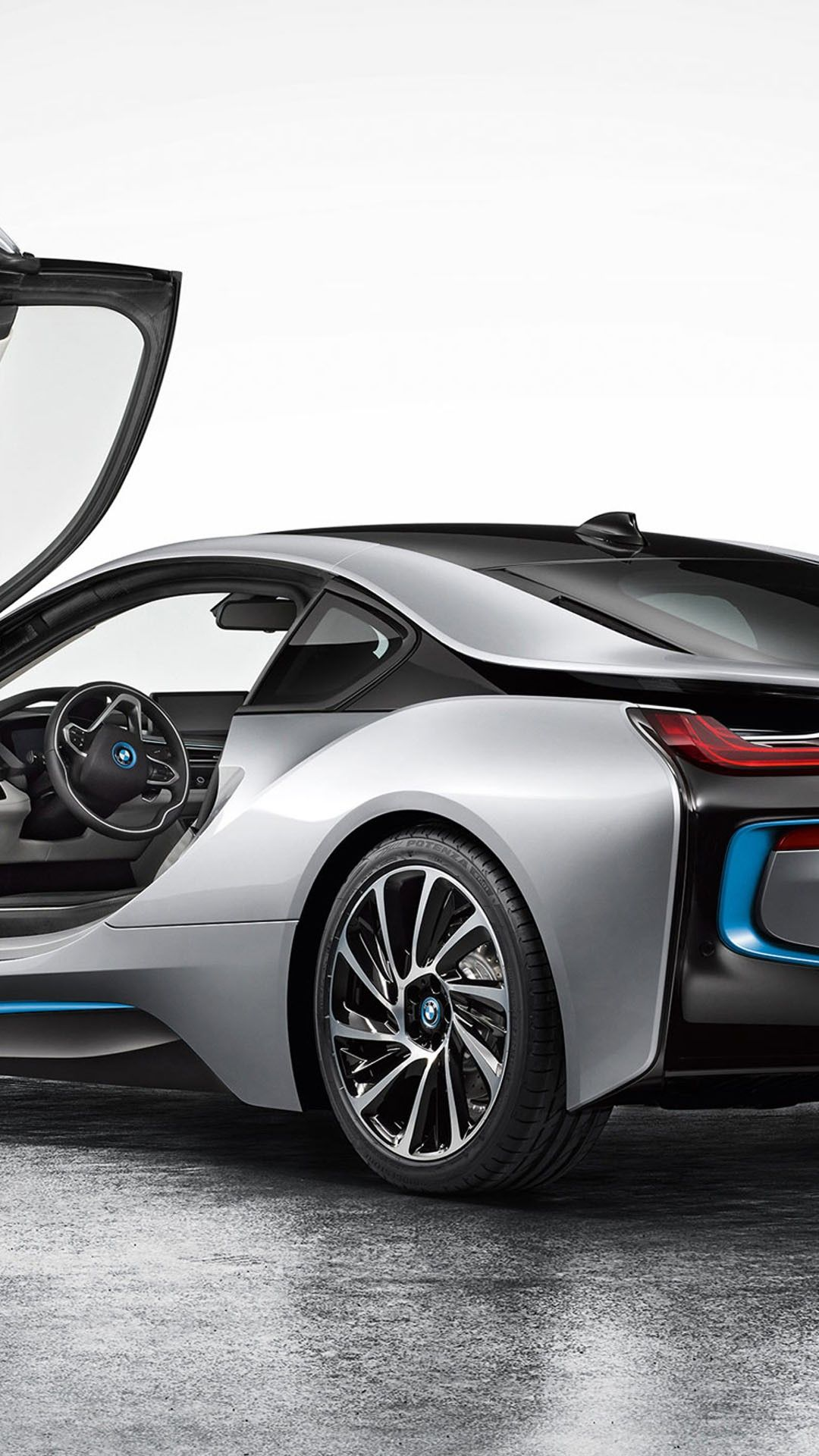Bmw I8 Back Silver Android And Iphone Wallpaper Background And