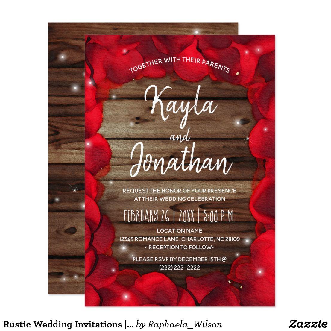 Rustic Wedding Invitations | Wood Red Rose Petals | Rustic Fall ...
