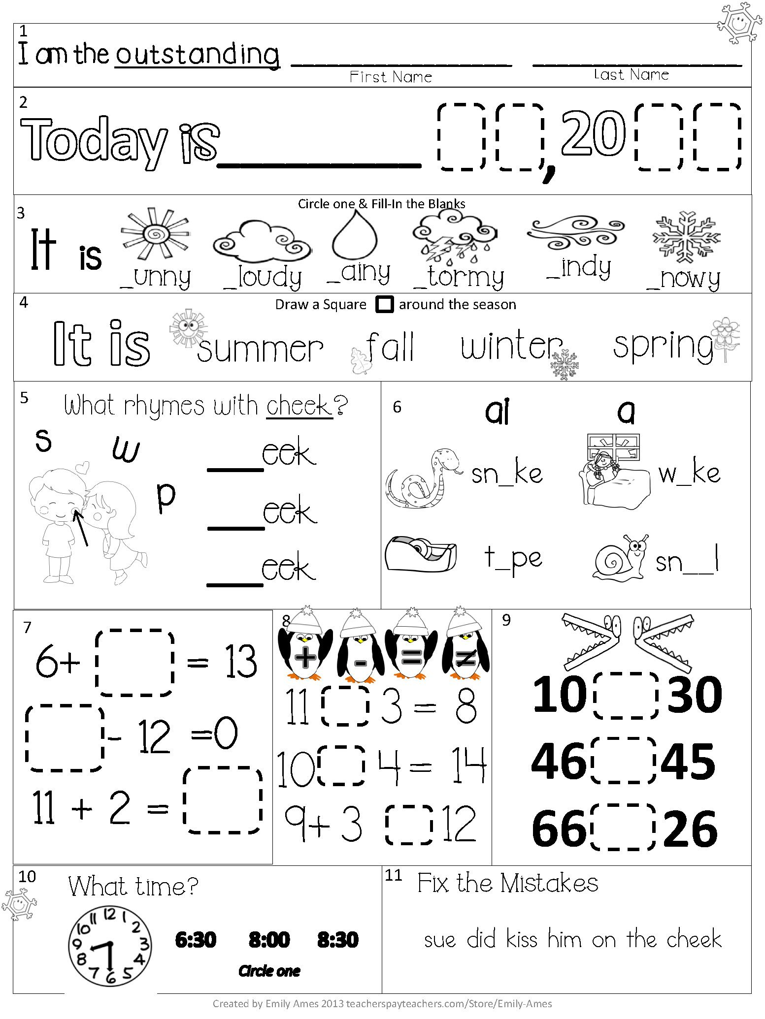 Morning Work First Grade February Packet Differentiated Common Core