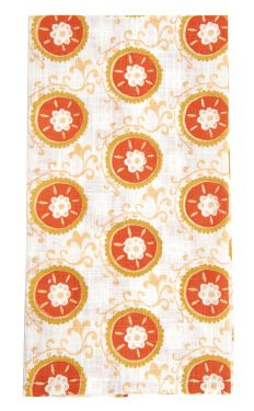 suzani tomato kitchen towel by rock flower paper