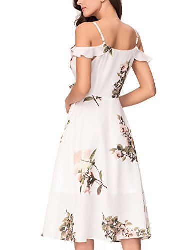 dca51a4ee726 Noctflos Womens Floral Chiffon Summer Cold Shoulder Cocktail Party Midi  Dress