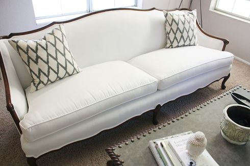 White With Dark Wood Trim Antique Style Sofas And Chairs