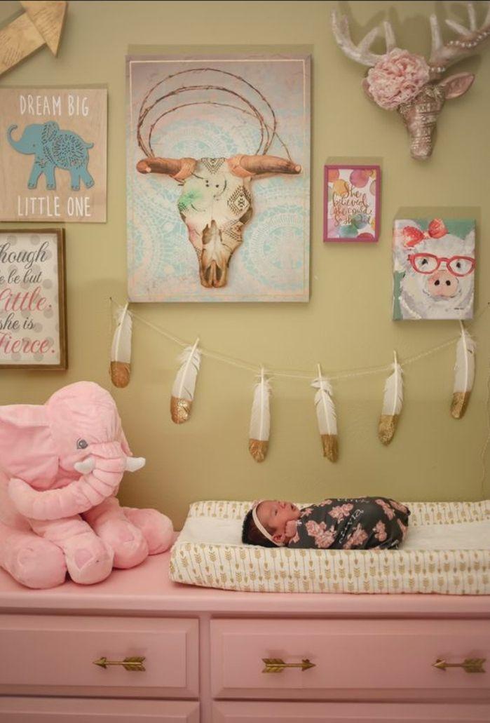 Babyzimmer Gestalten Ideen In Rosa Rosa Elefant Extravagante Wanddeko Für  Kinderzimmer Mädchen Baby Schweinbild