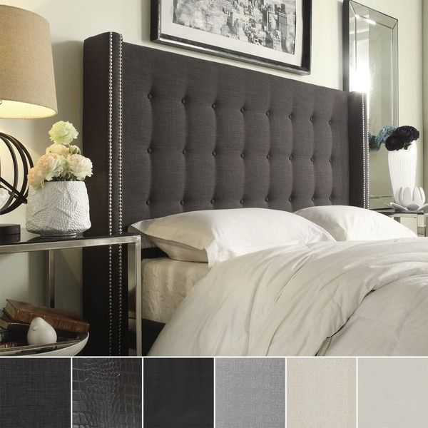 Marion Nailhead Wingback Button Tufted Full Size Headboard by ...