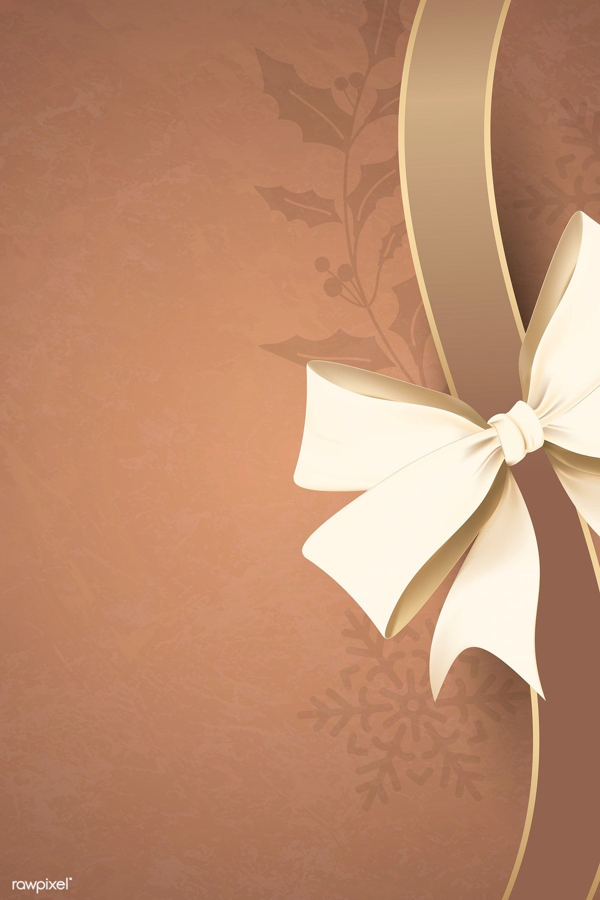Download Premium Vector Of Gold Ribbon Bow On Brown Background Vector In 2020 Paper Background Texture Pretty Wallpapers Winter Wallpaper
