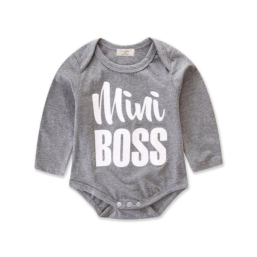 Mini letter printed Grey Autumn cotton romper Newborn Infant Baby Boy Girls Long  Sleeve Romper Jumpsuit 181e23357ea