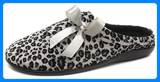 Dunlop Belle Schnee Leopard Damen Slippers Grau