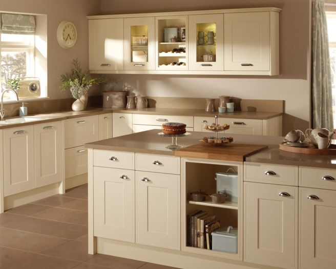Photo Of Shaker Cream Taupe Premier Kitchens Kitchen With Granite Worktop Tiled Floor Kitch Shaker Style Kitchen Cabinets Beige Kitchen Shaker Kitchen Cabinets