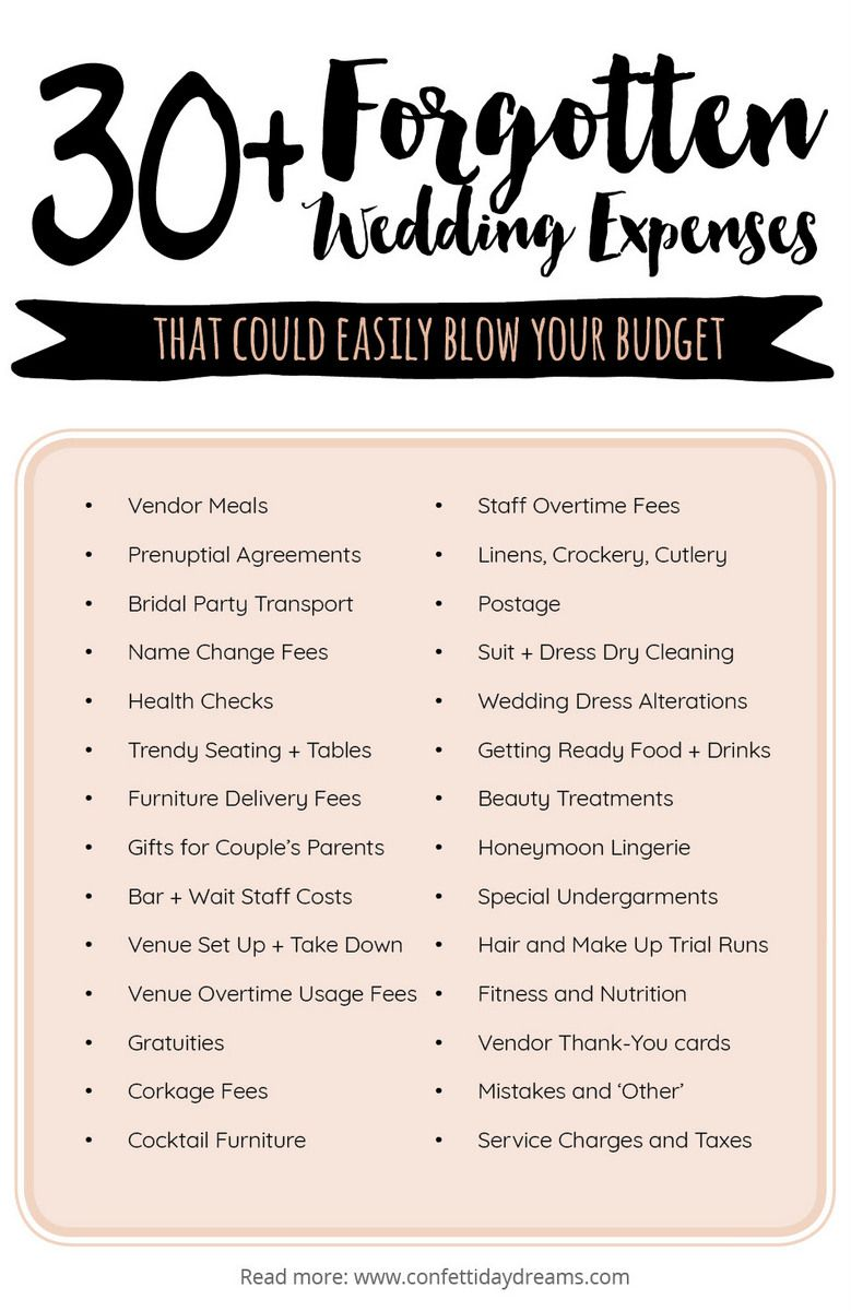 30 Important Wedding Costs You Might Have Overlooked Wedding Planning Series Wedding Expenses Wedding Costs Wedding Event Planning