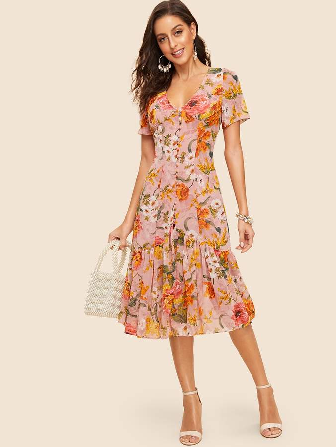 5703d5411b Shein Covered Button Ruffle Hem Floral Midi Dress in 2019   Products ...