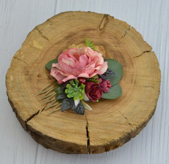 dcd6c702c3dcf Burgundy wedding/ Blush floral comb/ Summer wedding comb/ Bridal ...